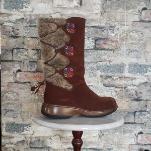 DANSKO Aztec Suede & Shearling Brown Boot Size 7.5